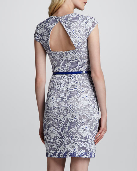 Sleeveless Triangle-Back Lace Dress