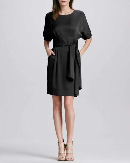 Eleanor Short-Sleeve Belted Dress, Noir