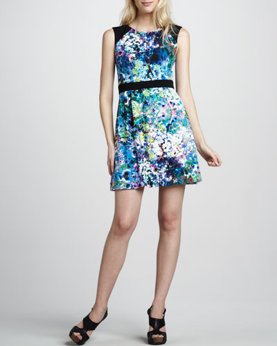 Phoebe Couture Belted Floral-Print Dress