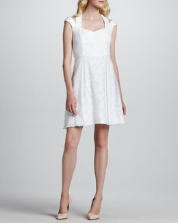 Phoebe by Kay Unger Cutout Cap-Sleeve Sweetheart-Neck Dress