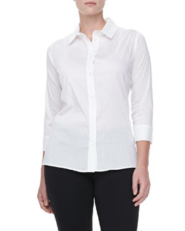 Armani Collezioni Tonal Pinstripe Cotton Top, Off White