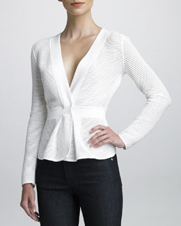 Armani Collezioni Perforated Knit Jacket