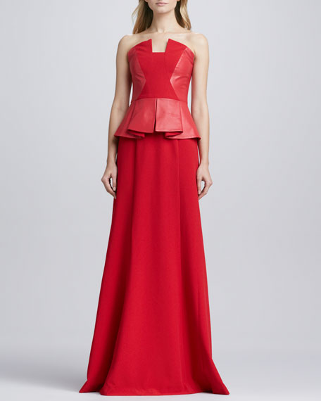 Drea Leather-Peplum Gown