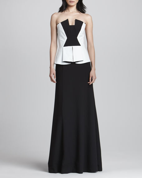 Drea Leather-Bodice Gown