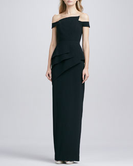 Black Halo Eve La Reina Off-The-Shoulder Gown