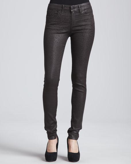 Eve Hi-Rise Skinny Jeans, Chocolate Leopard