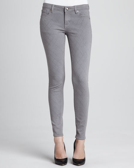 Quilted-Stitching Skinny Jeans, Gray