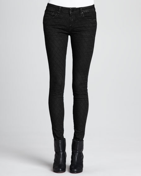 Faux-Leather Quilted Skinny Pants