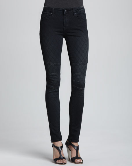Patterned Zipper-Cuff Skinny Jeans, Vintage Black