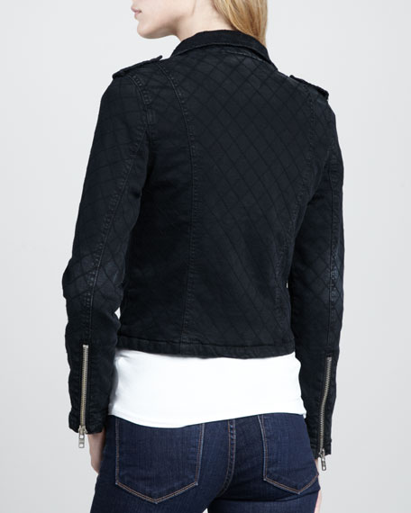 Quilted Denim Biker Jacket