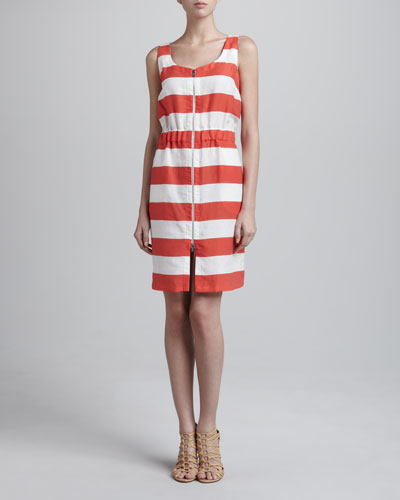 Armani Collezioni Nautical Striped Front-Zip Dress
