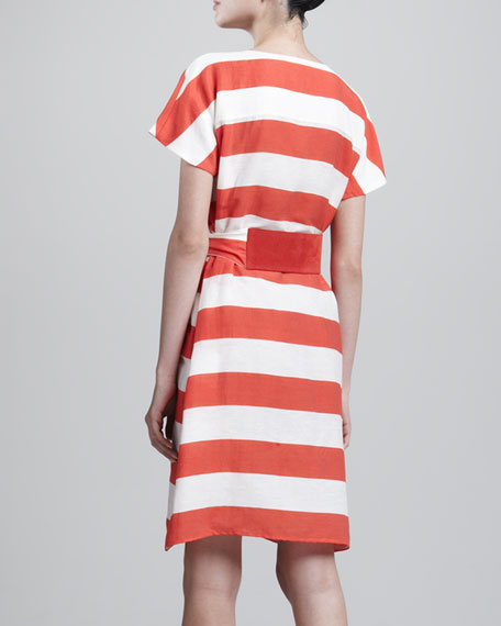 Nautical Striped Self-Tie Dress