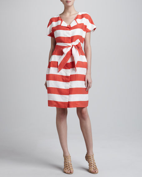 Nautical Striped Self-Tie Dress