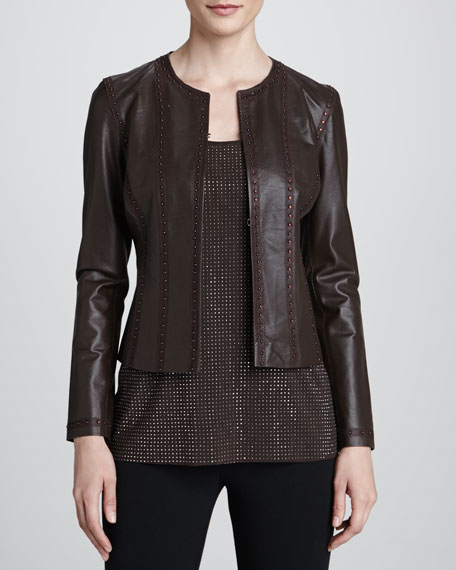 Grayse Studded Perforated Leather Jacket, Brown
