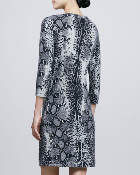 Animal-Print Faux-Wrap Cashmere Dress