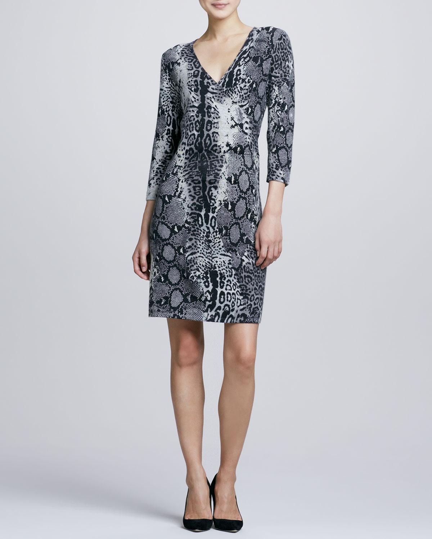 Animal-Print Faux-Wrap Cashmere Dress