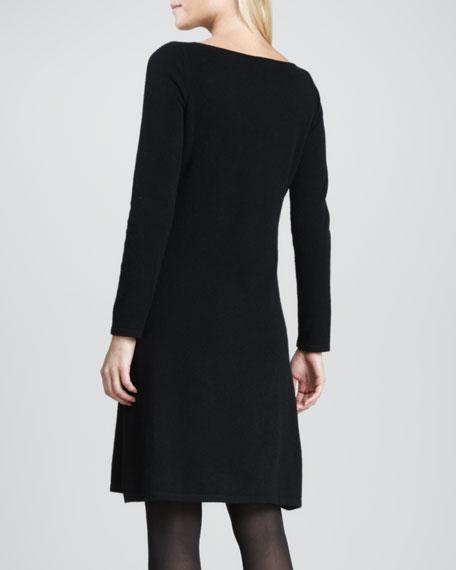 Long-Sleeve Bateau-Neck Cashmere Dress