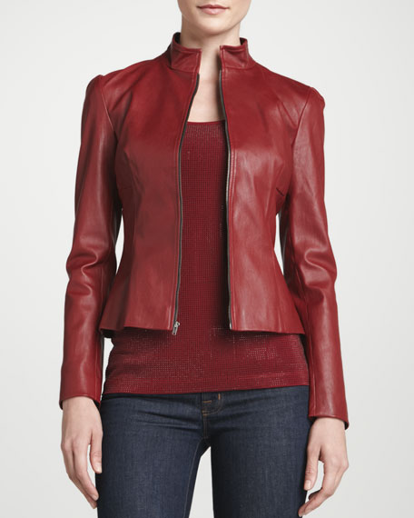 Stretched Leather Cropped Jacket