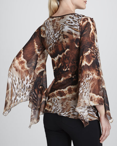 Animal-Print Butterfly-Sleeve Top