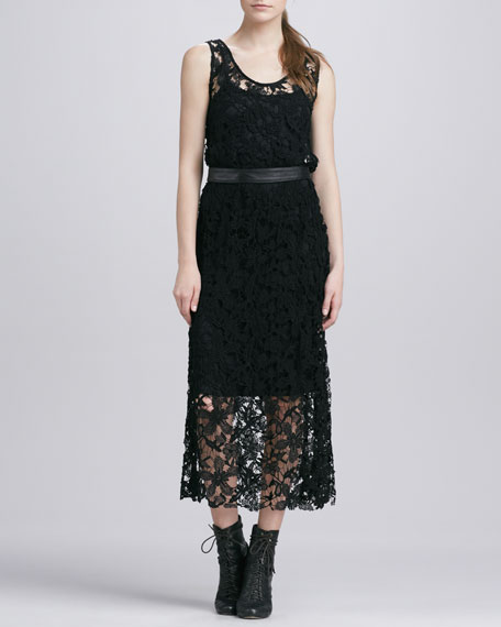 Briana Belted Lace Dress