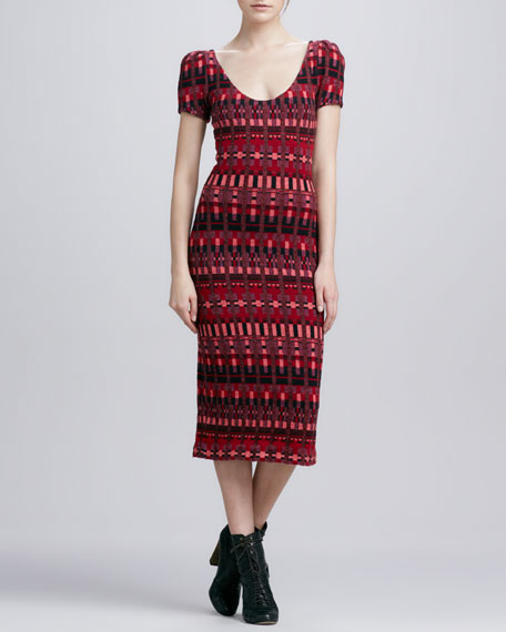 Isabel Knit Cap-Sleeve Dress