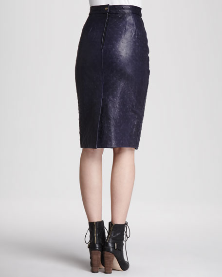 Monica l'Oeil Leather Pencil Skirt