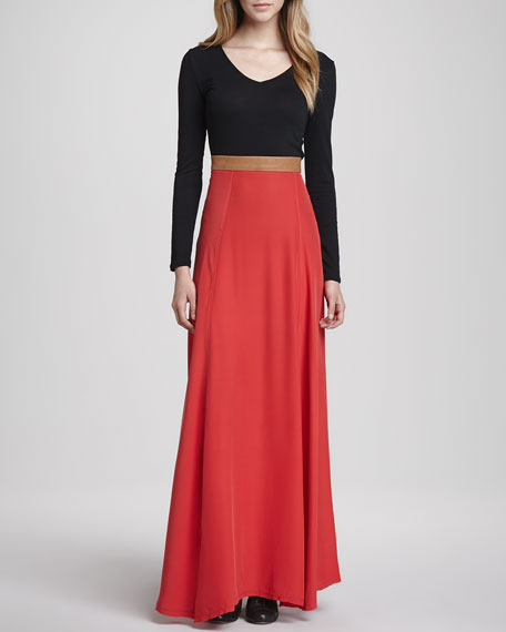 Helena Leather-Waist Maxi Skirt