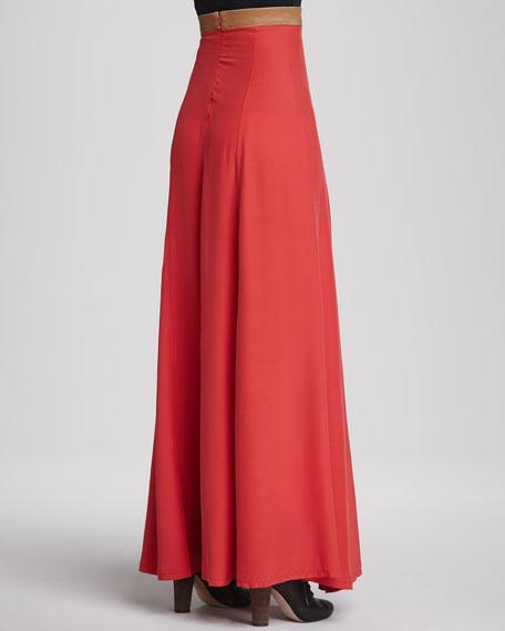 Helena Leather-Waist Maxi Skirt