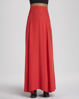 korovilas Helena Leather-Waist Maxi Skirt