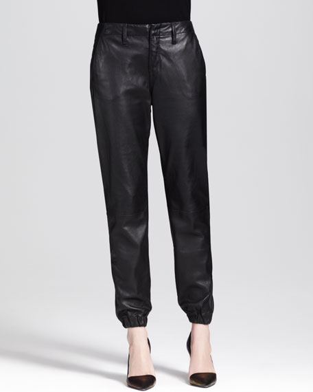 Leather Cropped Pajama Pants