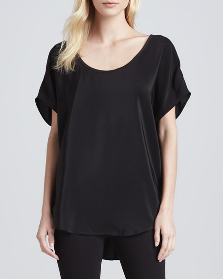 Joan Short-Sleeve Silk Top
