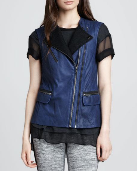 Leather Double-Zip Vest