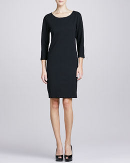 Joan Vass Three-Quarter-Sleeve Ponte Shift Dress, Petite