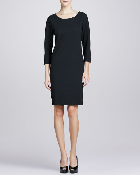 Three-Quarter-Sleeve Ponte Shift Dress, Petite