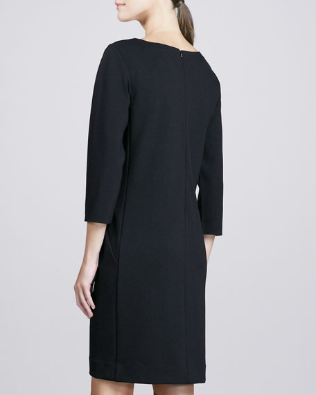 Three-Quarter-Sleeve Ponte Shift Dress, Women's