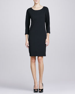Joan Vass Three-Quarter-Sleeve Ponte Shift Dress