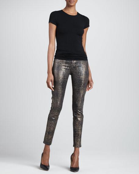 Croc-Print Skinny Ankle Jeans