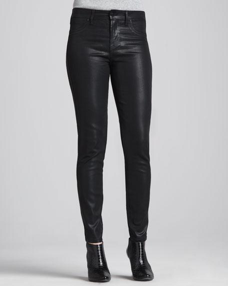 Waxed Skinny Jeans, Black