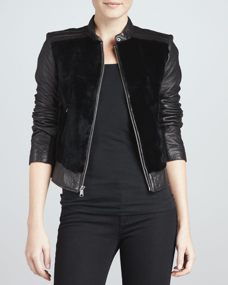 Sadie Fur-Front Leather Jacket
