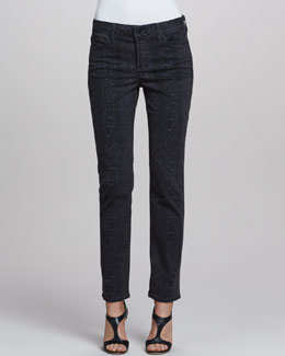 NYDJ Sheri Python-Print Skinny Pants, Black
