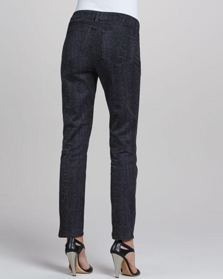 Sheri Python-Print Skinny Pants, Black