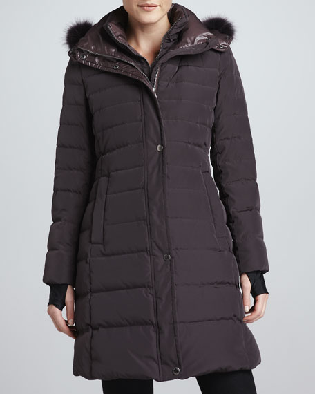 Ashley Puffer Jacket with Fur-Trim Hood