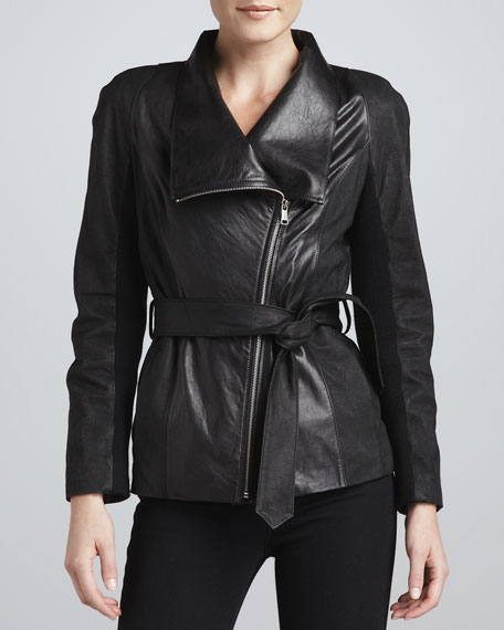 London Leather-Combo Belted Jacket