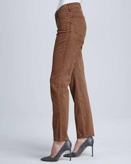 Sheri Nutmeg Cheetah-Print Skinny Pants