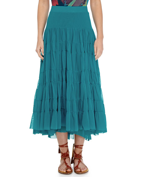 Tiered Tulle Maxi Skirt