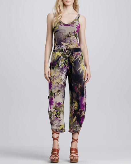 Winter Floral-Print Pants