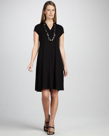 V-Neck Cap-Sleeve Jersey Dress
