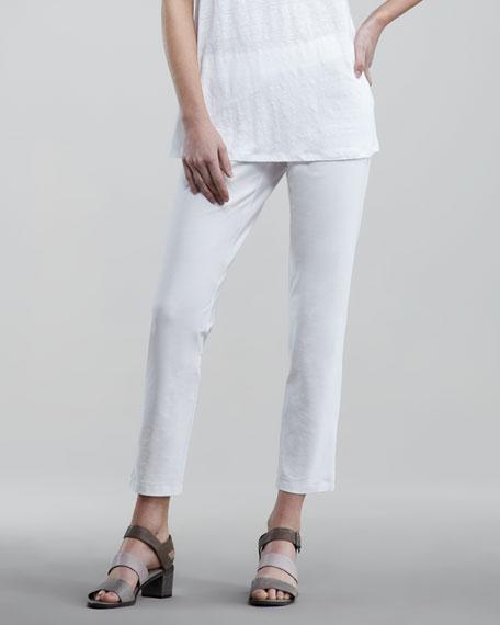 Washable-Crepe Slim Cropped Pants