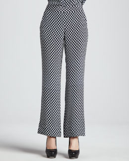 Theory Mitrana Herringbone-Print Silk Pants