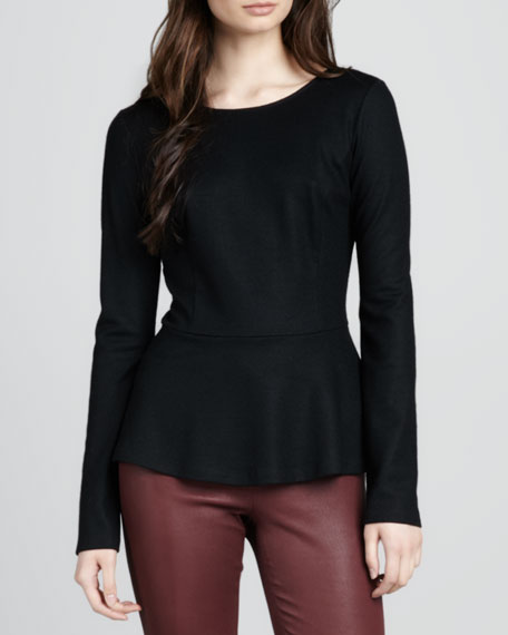 Defta Long-Sleeve Peplum Top